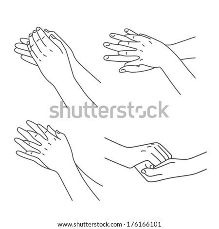 Hand massage treatment set - stock vector