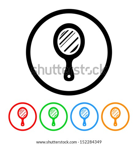 Hand Mirror Icon with Color Variations - stock vector