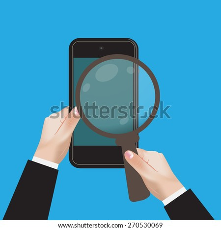 hand, mobile, device, magnifying, glass, search, network, vector, illustration. - stock vector