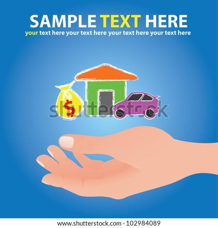 Hand ,money,home,car,Vector - stock vector
