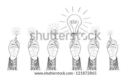 Hand of a businessman drawing lightbulbs. vector illustration - stock vector