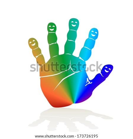 Hand of a child painted in the colors of the rainbow. The illustration on a white background.
