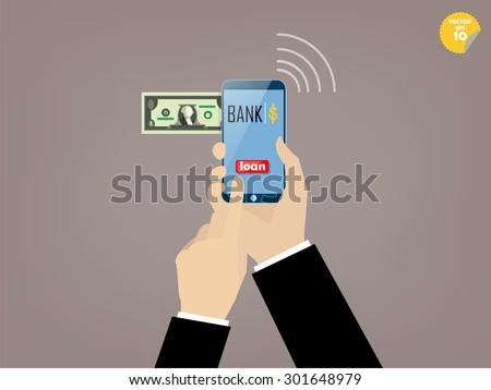 Hand of business man touching loan button of mobile banking application on the smartphone screen