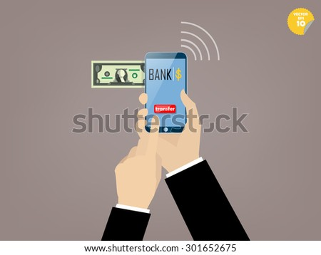 Hand of business man touching transfer button of mobile banking application on the smartphone screen