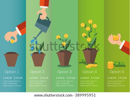 Hand of business person growing the  money tree. Concept illustration. - stock vector