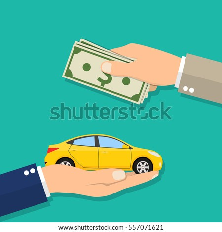 Hand of businessman with money buying a car. vector illustration in flat design