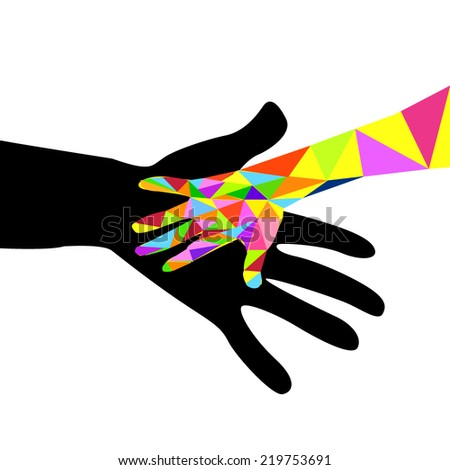 Hand of child and adult. Vector - stock vector