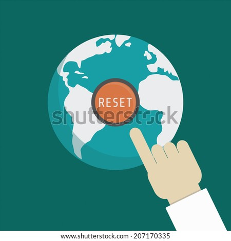 hand of god, press for punishment mankind - stock vector
