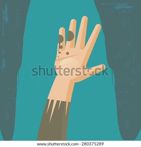 Hand of poverty Illustration of the concept of a hand of poverty, or hunger. The texture is removable from the background. - stock vector