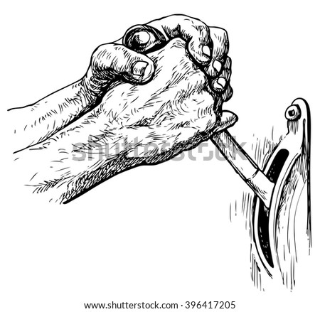 Hand of worker  switching toggle - hand drawn vector illustration, isolated on white - stock vector