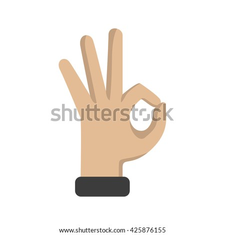 Hand OK sign on a white background. Vector illustration - stock vector