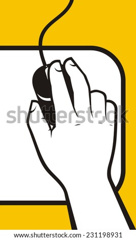 Hand on computer mouse - stock vector