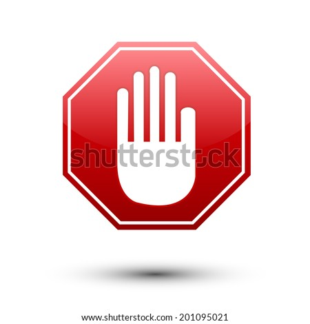 Hand on red sign No entry on white - stock vector