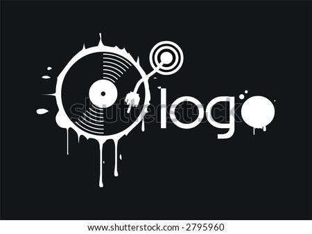 hand on vinyl - stock vector