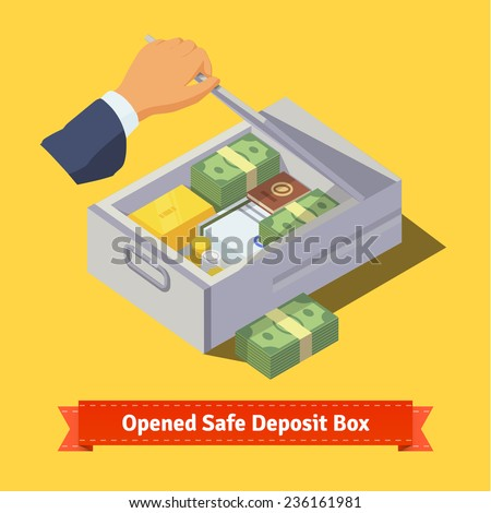Hand opening a safe deposit box full of valuables - money, gold, papers and coins. Flat style illustration. EPS 10 vector. - stock vector