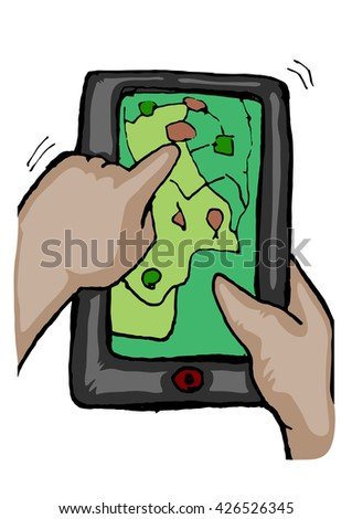 hand operating tablet open the map hand draw cartoon, isolated on white - stock vector