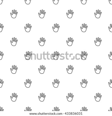 Hand Outline Seamless Pattern - stock vector