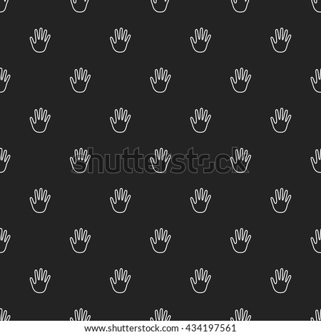 Hand Outline Seamless Pattern, White on Black Background - stock vector