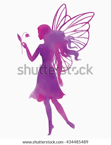 Hand paint fairy with flower, watercolor vector silhouette illustration. - stock vector