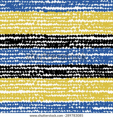 Hand painted abstract brush strokes in blue, green-yellow and black on white background. Seamless abstract repeating vector background. - stock vector