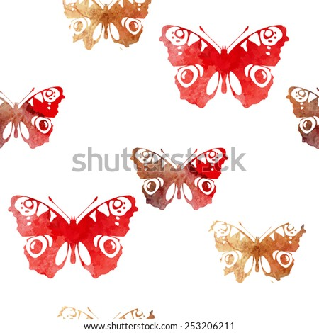 Hand painted aqua color butterflies pattern seamless background texture. Watercolor vector insect isolated template.