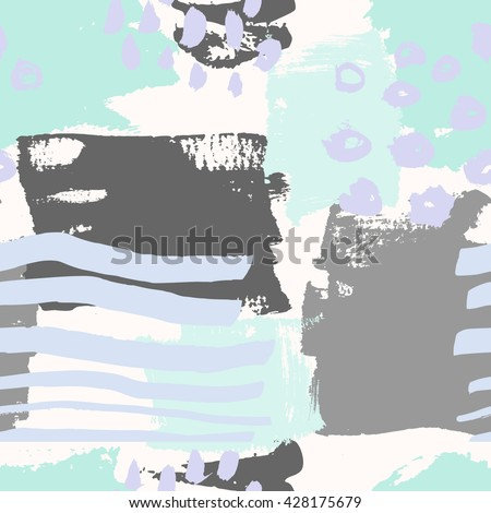 Hand painted brush strokes in gray, light violet and mint green on cream background. Seamless abstract repeating background. - stock vector