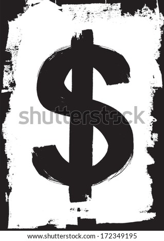 Hand painted dollar sign. Grunge/sketch style vector illustration.