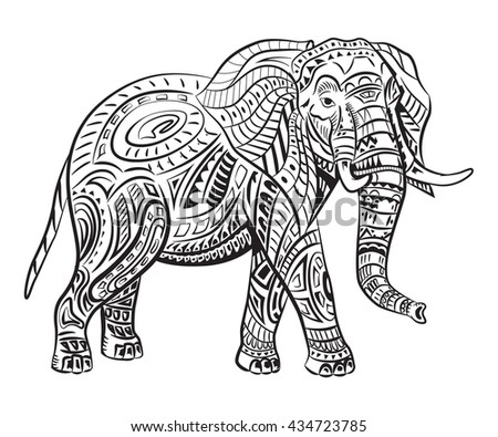 hand painted elephant with ornament tattoo elephant with patterns coloring page t