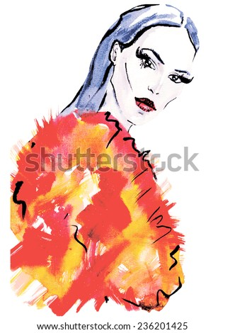 Hand painted Fashion portrait . watercolor vector.Beauty Fashion Model Girl in Fox Fur Coat.Beautiful Woman in Luxury colorful  Fur Jacket. - stock vector