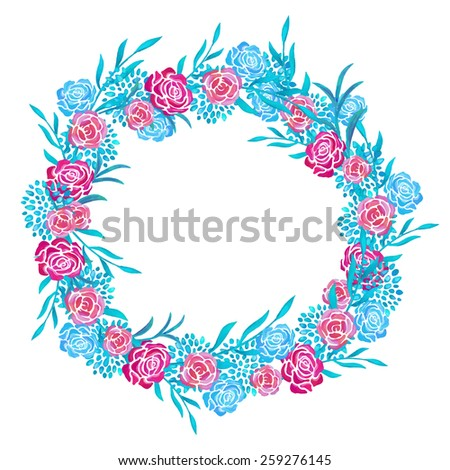 Hand painted floral watercolor frame, wreath, flowers and leaves isolated on a white background. Art design elements - stock vector