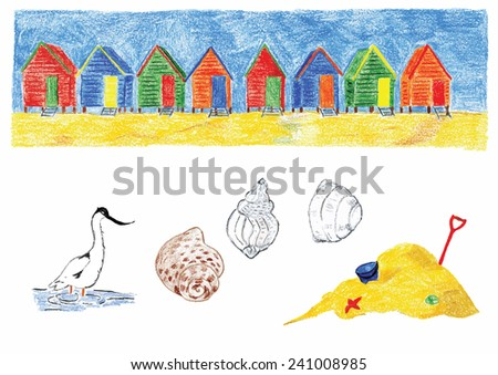 Hand painted illustration of beach huts toys and shells - stock vector