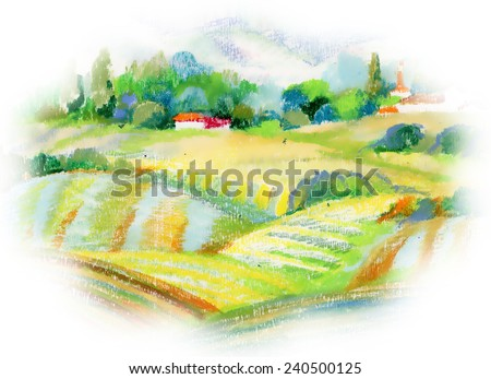 Hand painted pastel countryside landscape on white background vector illustration - stock vector