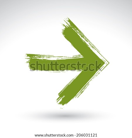 Hand-painted play sign isolated on white background, simple green play icon, created with real hand drawn ink brush scanned and vectorized, eco green multimedia symbol. - stock vector