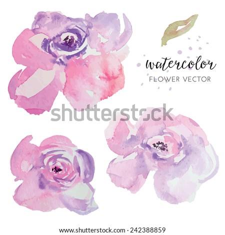 Hand Painted Purple Watercolor Flowers. Watercolor Vector Flowers - stock vector