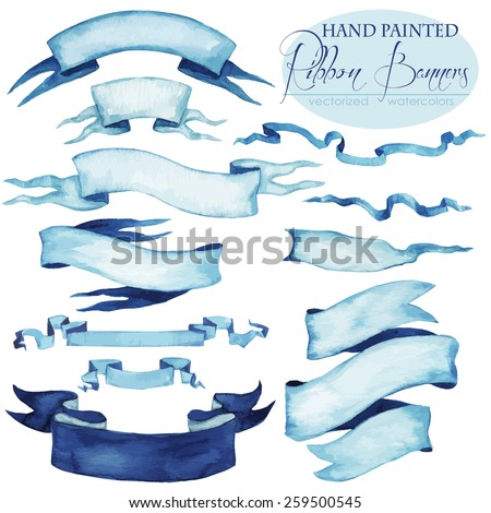 hand painted Ribbon Banners - vectorized watercolors.  - stock vector