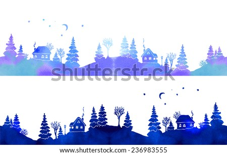 Hand-painted set of two watercolor borders with blue country landscape: silhouettes of fir trees, houses, moon, stars and lantern. Each one is seamless. Vector illustration on white background.  - stock vector