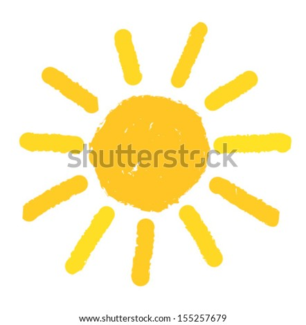 Hand painted sun. Vector illustration - stock vector