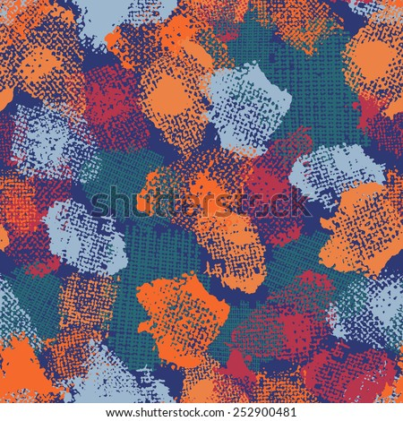 Hand painted textured abstract  seamless pattern in blue and orange. All objects are conveniently grouped  and are easily editable. - stock vector