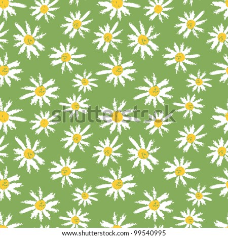 Hand painted textured chamomile flowers seamless pattern. Vector illustration - stock vector