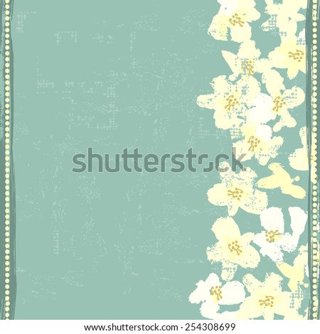Hand painted textured white spring flowers  vertical seamless border. All objects are conveniently grouped  and are easily editable. - stock vector