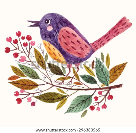Hand painted vector adorable bird sitting on a branch in watercolor technique. - stock vector