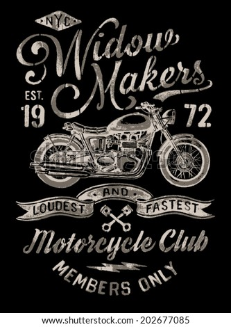 Hand Painted Vintage Motorcycle Graphic - stock vector