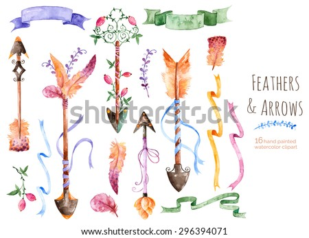 Hand painted watercolor collection for your design with romantic arrows, feathers, ribbons and banners.Hand drawing painting.Vector Watercolor design elements for Valentine's day,wedding and others . - stock vector