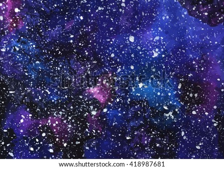 Hand painted watercolor cosmic texture with stars. Space, starry night sky, galaxy vector illustration. - stock vector