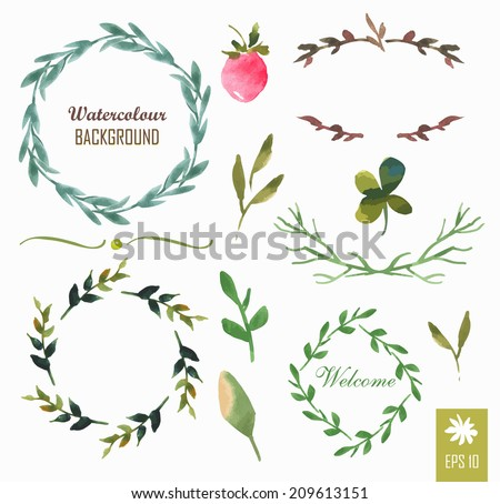 Hand-painted watercolor design elements. Floral motifs. Watercolor vintage floral trendy set of wreaths and laurels. Frame set. - stock vector