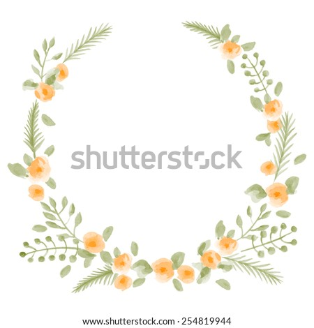 Hand Painted Watercolor Floral Round Frame Vector Illustration
