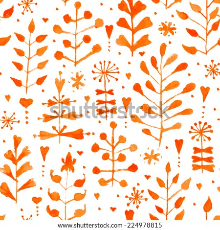 Hand painted watercolor floral seamless pattern. Vintage autumn vector background with flowers and leaves. Original hand drawn texture for web, fabric, print, invitations, cards.