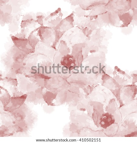 Hand painted watercolor imitation vector magnolia seamless pattern background in sepia. Not trace.