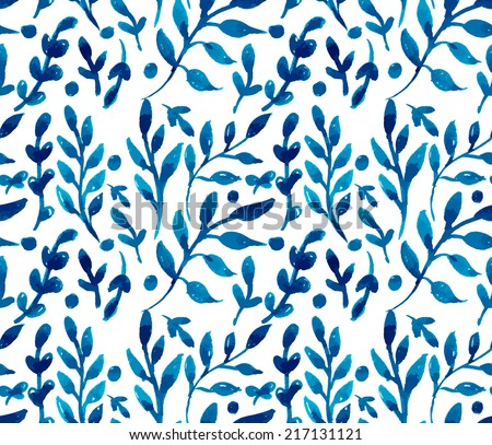 hand painted watercolor ink leaves seamless floral pattern vector background. leaf pattern - stock vector