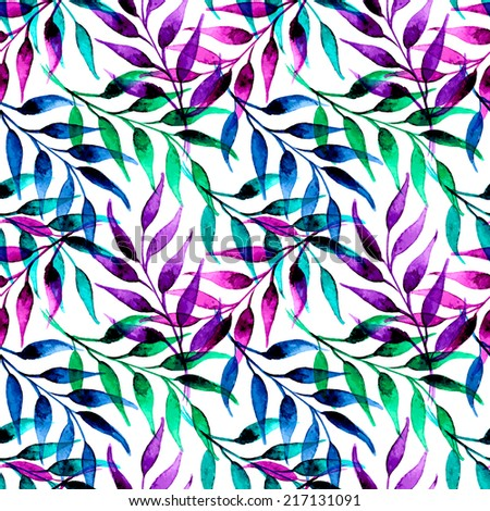 hand painted watercolor ink leaves seamless floral pattern vector background. leaf pattern. spring and summer vector pattern - stock vector